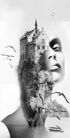 ♥ The castle - Antonio Mora Double exposure photography Creative Photography, Art Photography, Montage Photography, Sunrise Photography, Photography Editing, Photography Tutorials, Digital Photography, Photoshop Art, Art Visage
