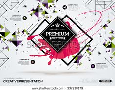 3D abstract background with paint stain and geometric rhombus shapes. Vector design layout for business presentations, flyers, posters. Scientific future technology background. Geometry polygon.
