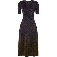 Bottega Veneta Metallic jacquard midi dress ($1,800) ❤ liked on Polyvore featuring dresses, midnight blue, metallic dresses, midnight blue dress, floral print dress, floral jacquard dress and floral print midi dress