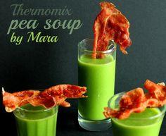 Amuse bouche pea soup with bacon ham