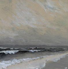 Original acrylic painting before the storm ocean waves beach.