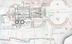 Lanciani Forma Urbis -- Ancient structures in Black -- Basilica of St. Peter and Piazza di San Pietro in Red. You can also see the outline of the old Circus of Nero. Saint Peter Rome, Saint Peter Square, Basilica San Pedro, St Peters Cathedral, Old Circus, Fantasy World Map, Romulus And Remus, St Peters Basilica, Historical Architecture