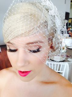 50's wedding makeup by The powder room artist Prue! Like the eyes but the lips are too bright.