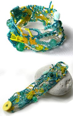 Yellow And Turquoise Freeform Beaded Bracelet  by Anabel27shop