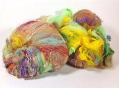 3.8 oz 110 grams luxurious fiber art batts set of 2 chunk o locks of mohair, merino, baby suri, bluefaced leicester lamb, chunks of yarn