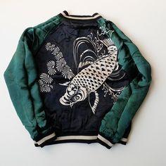 Japanese SCRIPT Rising Koi Fish Silk Embroidery Sukajan Jacket - Japan Lover Me Store
