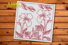 Two beautiful blooming flowers with the leaves The Box Stitch shown in picture is optional. The color of outer Box...