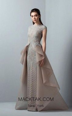 Saiid Kobeisy Skin and greige tulle brodé short-sleeved straight long dress with overskirt Sexy Dresses, Beautiful Dresses, Dress Outfits, Fashion Dresses, Prom Dresses, Wedding Dresses, Awesome Dresses, Fashion 2018, Party Fashion