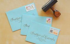 Oh So Beautiful Paper: Rubber Stamp Fabric Pocket Wedding Invitations