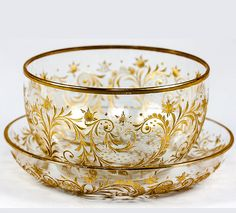 Antique Bohemian Engraved Gold Enamel Crystal Bowl and Saucer, Under Plate - Finger Bowl, MOSER