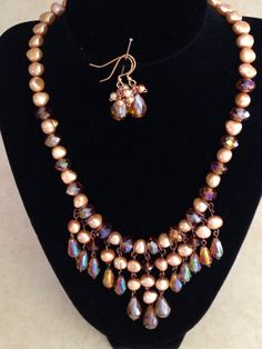 Fresh water pearls with glass beads