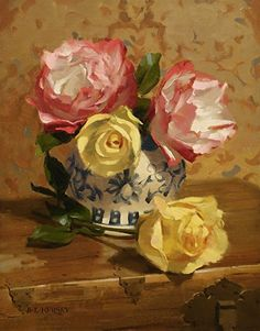Rose Duets by Laurie Kersey Oil ~ 14 x 11