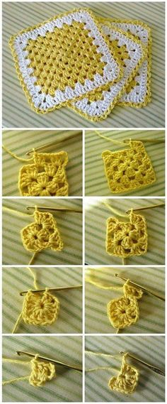 Crochet Granny Square Dishcloth – YarnandhooksMake a beautiful mitered granny square dishcloth!TOP 10 Free Crochet Granny Square PatternsFree pattern for a Flower Garden Granny Square bag. Granny Square Crochet Pattern, Crochet Squares, Crochet Granny, Crochet Blanket Patterns, Crochet Stitches, Crochet Baby, Knitting Patterns, Granny Squares, Knitting Ideas