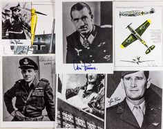 AMERICAN AND GERMAN ACES AND NOTABLES  Excellent lot of 16 photos and other images signed by German and Allied aces. Includes ADOLF GALLAND (two signed photos and a signed image of an Me-109), FRANCIS GABRESKI, JOE FOSS, ROLAND BEAMONT, GEORGE GAY, GUNTHER RALL (image of an Me-110), a dogfight signed by three Flying Tigers; CHUCK YEAGER (2), JOHANNES STEINHOFF, JACOB BESER, BENJAMIN O. DAVIS., PAUL TIBBETS