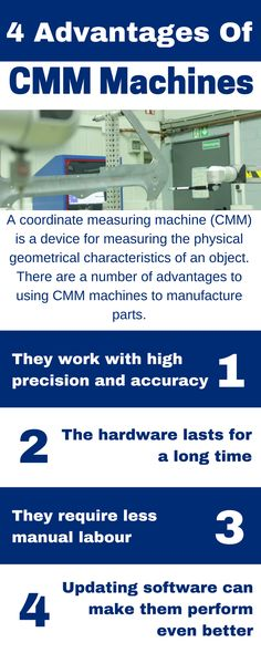 Learn about some of the many advantages of CMM Machines in this infographic. View the original infographic here: https://magic.piktochart.com/output/23267336-4-advantages-of-cmm-machines  Also, to learn more about CMM machinery, visit us at http://www.status-cmm.co.uk/  Contact Us:  Measurement House, Lenton Street, Sandiacre, Nottingham, NG10 5DX