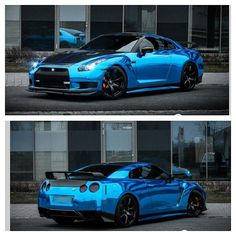 Blue chrome and carbon fiber Nissan GTR