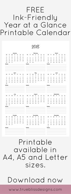 Are you interested in ink-friendly black and white printable planners with a simple design? This 2018 year at a glance calendar would be great for home, school or office organization. Visit www.trueblissdesigns.com for more freebies.