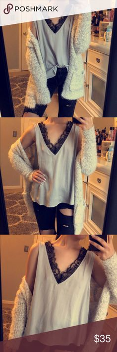 Lace tank Never worn! Silver silky tank with black lace trim Nordstrom Tops Tank Tops