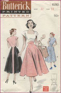 "Look at this! It's another version of the ""walkaway"" dress pattern! ~ Butterick Pattern 6150 Look at this! It's another version of the ""walkaway"" dress pattern! 50 Fashion, Fashion History, Retro Fashion, Fashion Models, Vintage Fashion, Fashion Design, Style Fashion, Club Fashion, Fashion Shoes"
