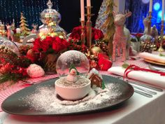 Edible Blown Sugar Snow Globe on Figgy Pudding Figgy Pudding, Red Color Schemes, Like Image, Grad Parties, Christmas Is Coming, Snow Globes, Red And White, Sugar, Table Decorations