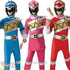 Kids Deluxe Power Rangers Dino Charge Fancy Dress Costume Boys Girls Child