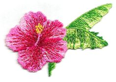 Flower - Tropical Flower/Foliage Embroidered Iron On Applique Patch