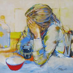 "TEARS OVER COFFEE by Elsie Stewart Acrylic ~ 24"" x 24"""