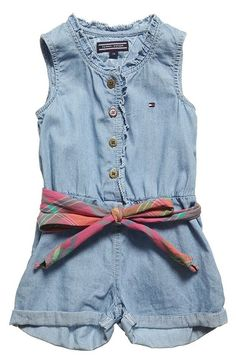 Tommy Hilfiger girls pale blue chambray denim playsuit made from a soft cotton with a belt that can be found on My Child World