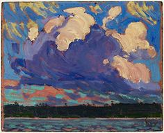 Tom Thomson painted many of his landscape scenes while canoeing in Algonquin Park, where he could capture the blazing sunsets and crimson clouds overhead. (Tom Thomson, Evening Cloud, oil on. Emily Carr, Canadian Painters, Canadian Artists, Landscape Art, Landscape Paintings, Impressionist Landscape, Tom Thomson Paintings, Art Gallery Of Ontario, Group Of Seven