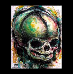 Print 8x10  Single  Skulls Skeletons Dark Art by chuckhodi on Etsy, $10.00
