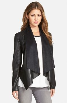 KUT from the Kloth 'Ana' Faux Leather Drape Front Jacket available at #Nordstrom