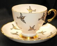 ROYAL TUSCAN ENGLAND GOLD PINK HERON BIRD TEA CUP AND SAUCER !