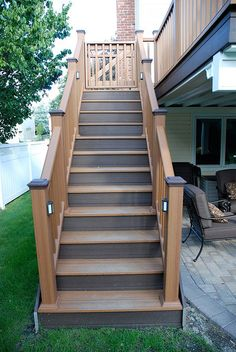 Trex Stairs by Long Island Decking Inc., via Flickr I like the contrast of colors.