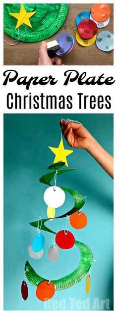 Red Ted Art;s Paper Plate Christmas Tree Whirligig! Paper Plate Twirlers are a easy and fun to make, great classroom Christmas Decoration. Paper Plate Christmas trees can also be made as collaborative project.. and we give tips to simplify the craft or extend it. They are SUCH a pretty decoration for Christmas though.. Fabulous Christmas Crafts for Preschoolers! #ChristmasTree #PaperPlate #PaperplateChristmasTree #Preschool