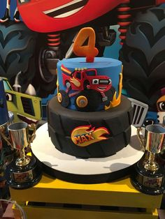 Blaze and the monster machine Birthday Party Ideas Torta Blaze, Bolo Blaze, Blaze Cakes, Blaze Birthday Cake, 4th Birthday Cakes, 4th Birthday Parties, Baby Birthday, Birthday Ideas, Festa Monster Truck