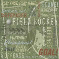"""Item #: KFD4255    Name: Field Hockey Collage Paper    Size: 12""""x12""""    Description: You'll score a goal with this sporty paper from Karen Foster Design! Acid and lignin free and archival quality.    Click here to see the rest of our great Under-A-Dollar items!    Price: $0.69"""