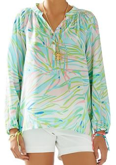 53c8c62ee6d Lilly Pulitzer Elsa Top in Skye Blue Salute - Basket Case Necklace featured  accessory Tunic Shirt