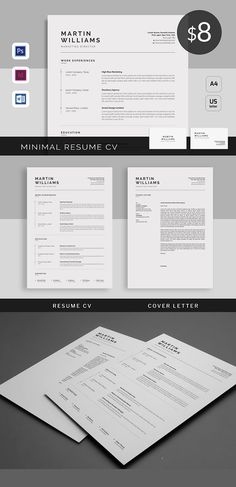 Clean and Simple CV Resume & Cover Letters Microsoft Word Resume Template, Sample Resume Templates, Best Resume Template, Resume Design Template, Cover Letter For Resume, Cover Letter Template, Letter Templates, Cv Design, Graphic Design Branding