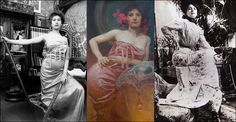 Alphonse Mucha - Portrait of a woman c.1910    View large: www.flickr.com/photos/gargantuansound/5608371900/sizes/l/...  A triptych of Alphonse Mucha's black & white photograph studies for an untitled portrait. The date of the painting isn't known but it is from Mucha's later period, but probably pre his Slav Epic.