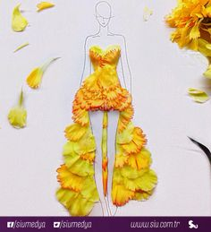 Singapur'da moda illüstratörü olan Grace Ciao'nun çicek yaprakları ve çizimleri ile yaptığı göz alıcı tasarımları.