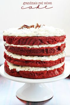 Grandma's Red Velvet Cake ~ I love a delicious red velvet cake with yummy cream cheese frosting. Mmmmmmm...