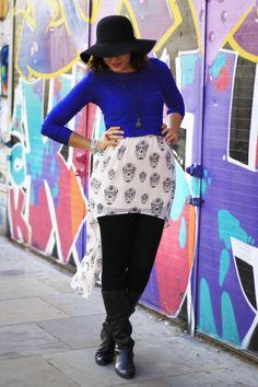 Look Desenrolado em Londres: Estilo retrô #mulletskirt #skulls #floppyhat