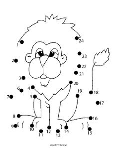 The lion with the shaggy mane and fluffy tail smiles sleepily in this printable dot to dot puzzle. It is great for safari parties or for people who like lions. Free to download and print