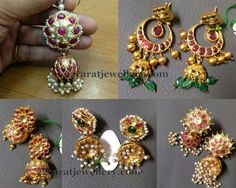 Jewellery Designs: Kundan Ruby Jhumkas Collection