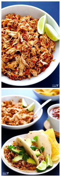 2-Ingredient Slow Cooker Salsa Chicken -- a super easy way to make delicious Mexi shredded chicken! gimmesomeoven.com #crockpot #slowcooker #glutenfree
