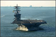 The Nimitz-class aircraft carrier USS Dwight D. Eisenhower (CVN 69) departs her homeport of Naval Station Norfolk. Dwight D. Eisenhower departs for a deployment to support maritime security operation and theater security cooperation efforts in the U.S. 5th and 6th Fleet areas of responsibility.