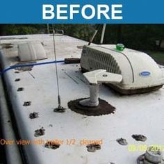 Liquid Roof an ideal liquid coating for all type of roof repair problems as rv roof repair, rv roof coating, motorhomes roof repair and similar application. Liquid Roof one-coat application saves you time and money. Liquid Roof, Roof Leak Repair, Camper Repair, Vehicle Repair, Roof Coating, Camper Hacks, Rv Hacks, Rv Trailers, Travel Trailers
