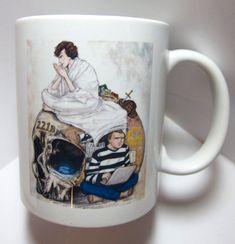 BBC Sherlock and Watson and skull 11oz mug