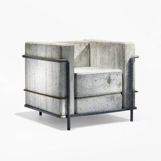 Брутальное переосмысление классического кресла Ле Корбюзье из бетона и арматуры.