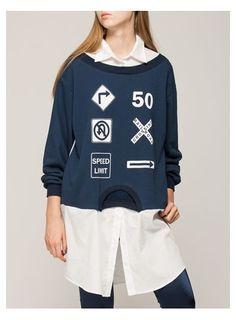 HORTES Traffic Sign Printed Double Layer Sweatshirt@ shopjessicabuurman.com